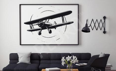 Plakat samolot czarno-biały do salonu