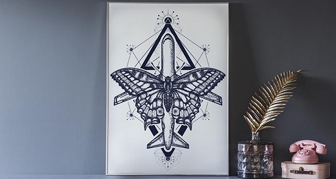 Plakat samolot z motylem