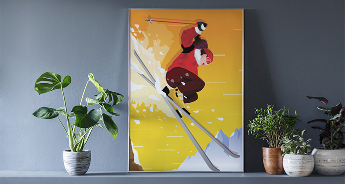 Plakat sport - narciarstwo