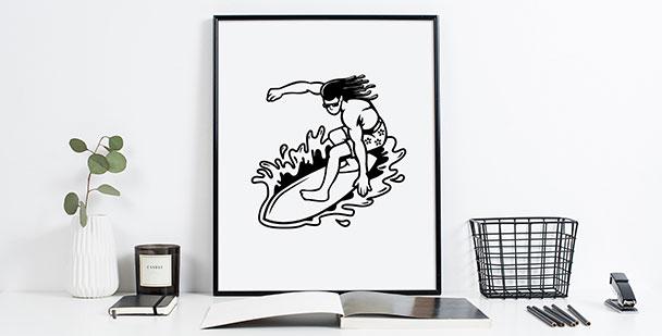 Plakat sportowy dla surfera