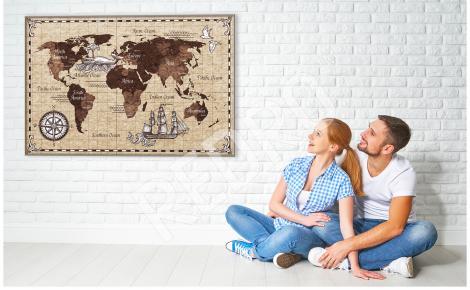 Plakat stara mapa do salonu