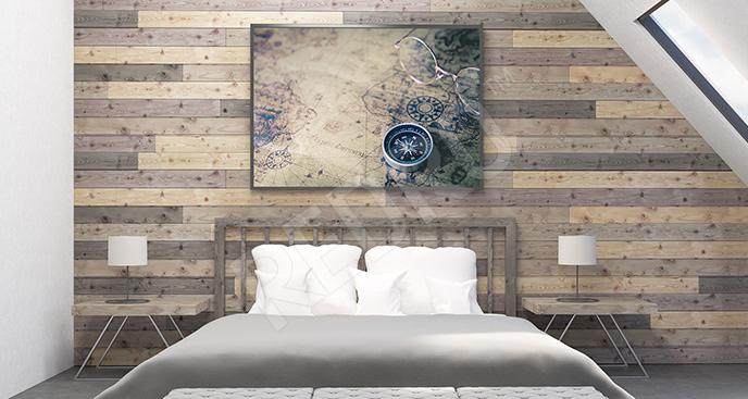 Plakat stara mapa do sypialni