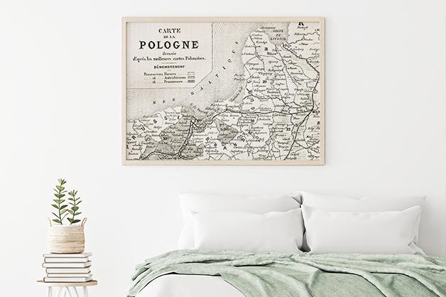Plakat - Stara mapa Polski