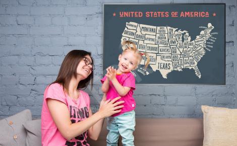 Plakat stara mapa USA