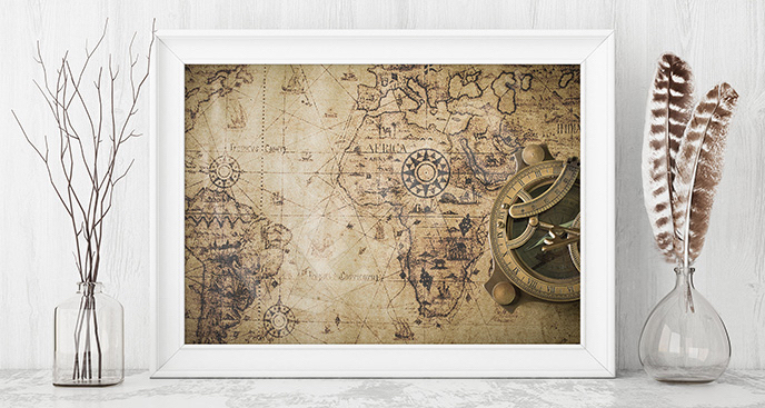 Plakat stara mapa w sepii