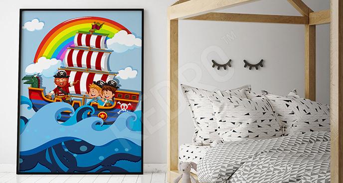 Plakat statek dla dzieci