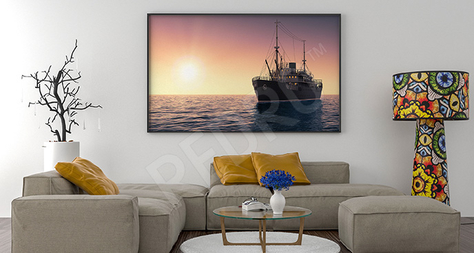 Plakat statek i zachód słońca