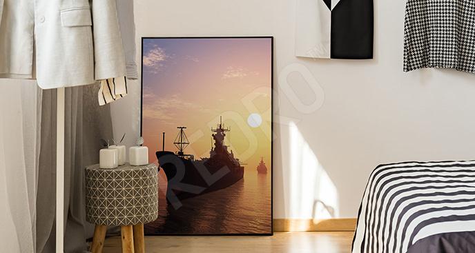 Plakat statek wojskowy na morzu