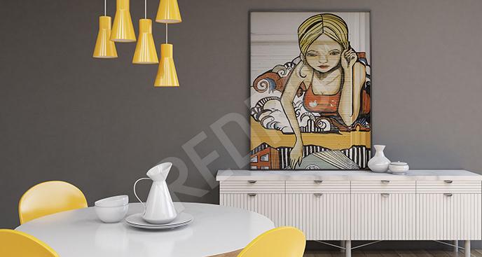 Plakat street art blond kobieta
