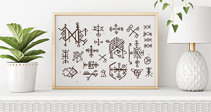 Plakat styl skandynawski: symbole