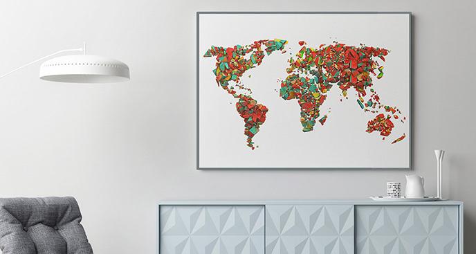 Plakat świat z kolorowych cegiełek