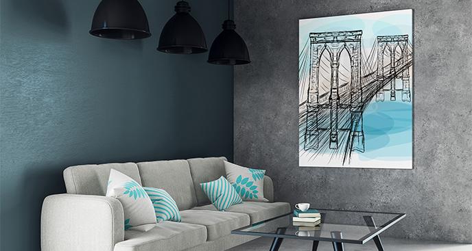 Plakat szkic mostu