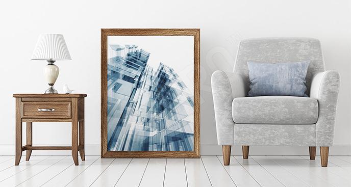 Plakat szklane wieżowce