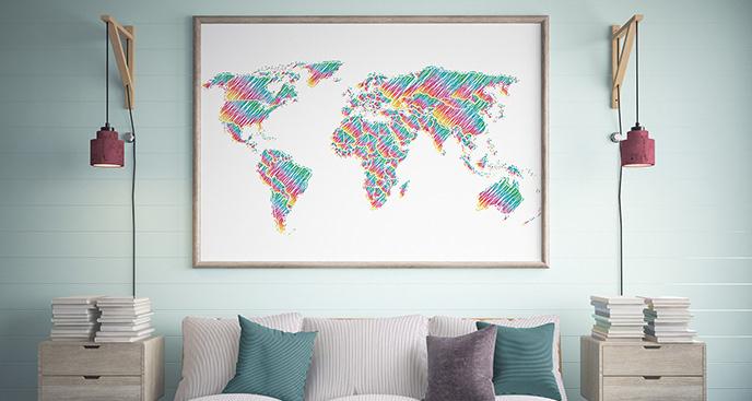 Plakat tęczowe kontynenty