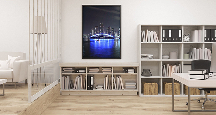 Plakat Tokio z widokiem na most