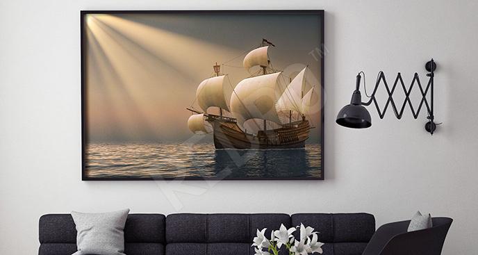 Plakat trójmasztowiec na morzu