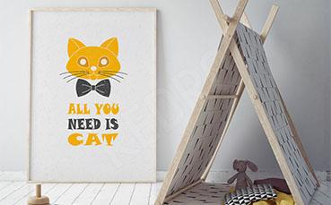Plakat typograficzny kot