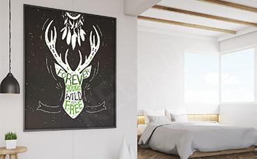 Plakat typograficzny z jeleniem