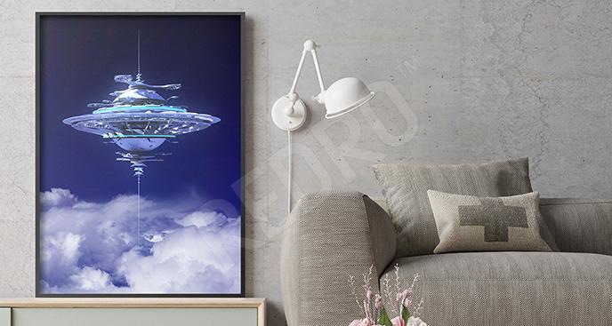 Plakat UFO na niebie