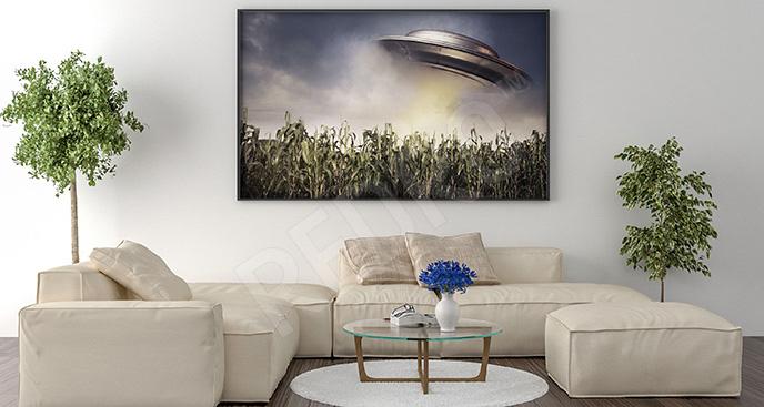 Plakat UFO nad trawą