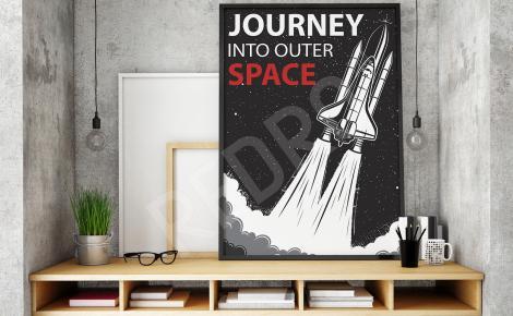 Plakat vintage statek kosmiczny