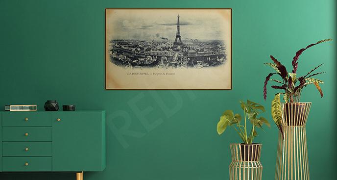 Plakat vintage z Wieżą Eiffla