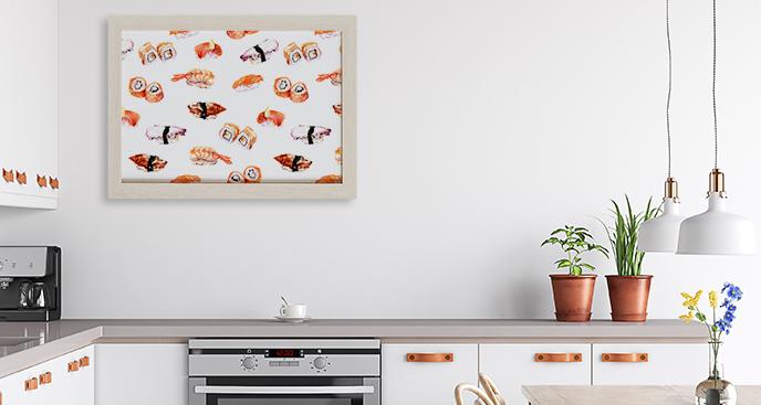 Plakat w akwareli: sushi