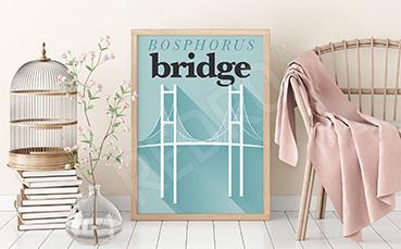 Plakat w stylu vintage z mostem