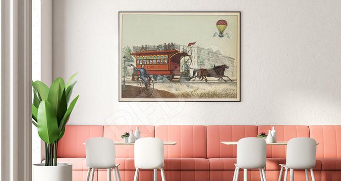 Plakat w stylu vintage z powozem