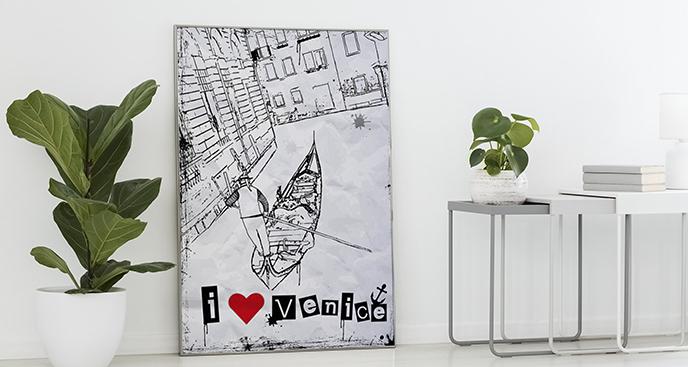 Plakat Wenecja czarno-biała