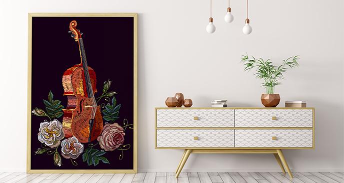 Plakat wiolonczela i róże