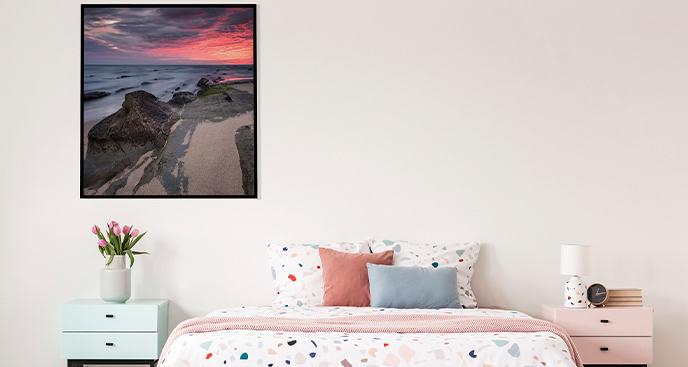Plakat wschód słońca na wybrzeżu