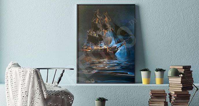 Plakat wzburzone morze