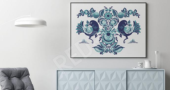 Plakat wzór folk kwiatowy