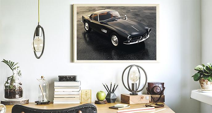 Plakat z czarnym samochodem