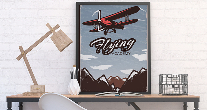 Plakat z dwupłatowcem retro