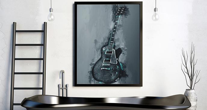 Plakat z gitarą dla rockmana