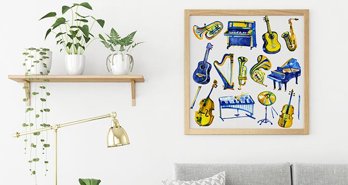 Plakat z instrumentami dla muzyka