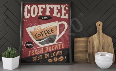 Plakat z kawą styl retro