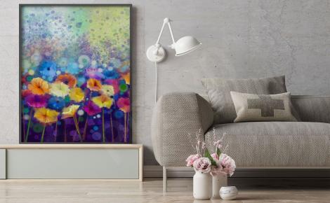 Plakat z kolorowymi kwiatami