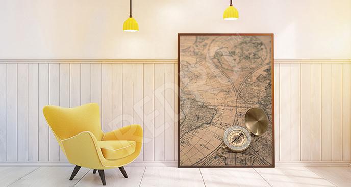 Plakat z kompasem i mapą vintage