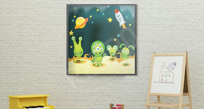 Plakat z kosmitami dla dzieci