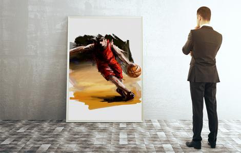 Plakat z koszykarzem do salonu