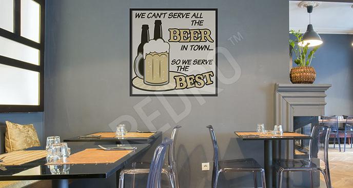 Plakat z kuflem piwa