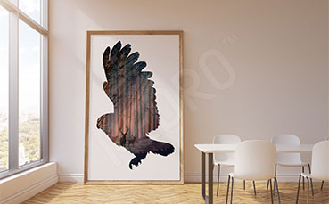 Plakat z lasem i sową