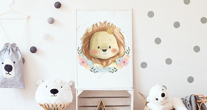Plakat z lwem do pokoju dziecka