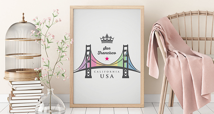 Plakat z mostem w San Francisco