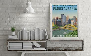 Plakat z mostem w stanie Pensylwania