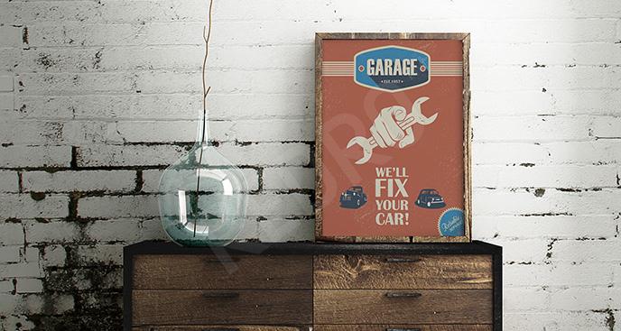 Plakat z napisami do garażu