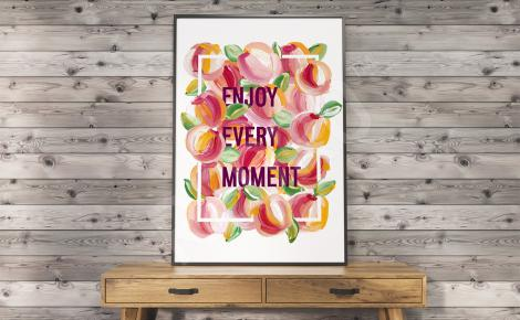 Plakat z owocami i napisami